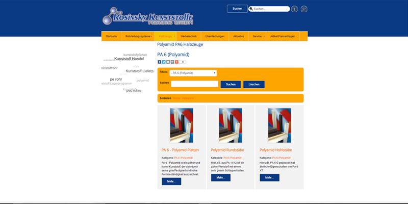 Homepage + Online Katalog - Rosinsky Kunststoffe GmbH
